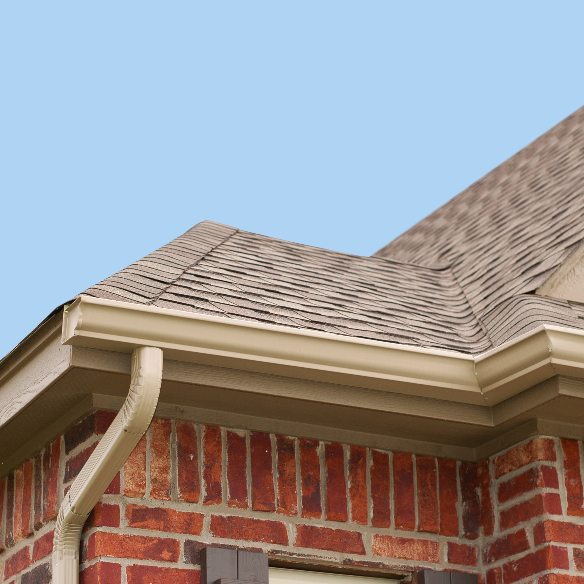 A section of a home gutter system that is in great condition.