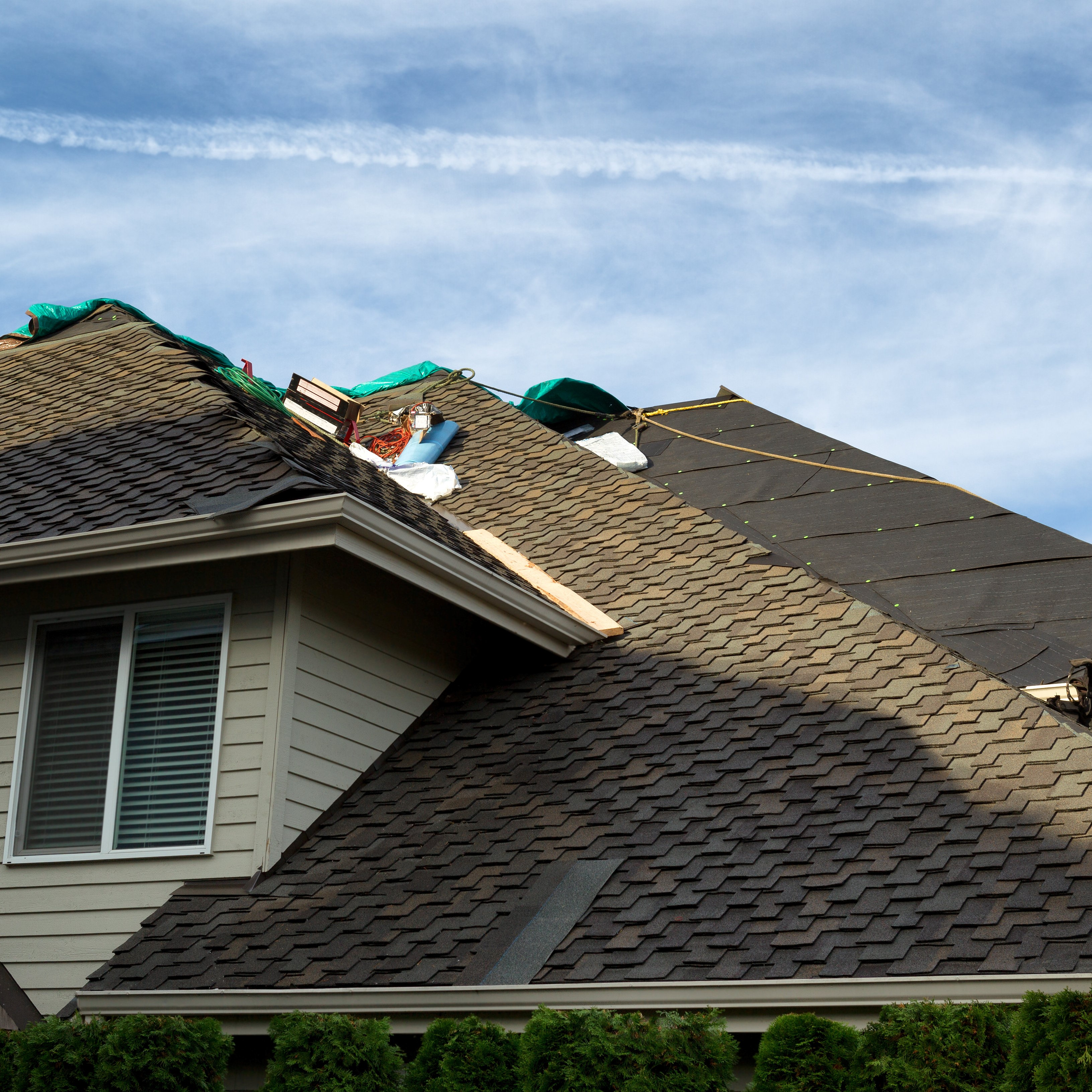 A roof in the process of getting worked on.